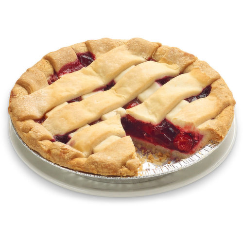 A buttery cake flour pie base and lattice top filled with a rich cherry filling. 8 inch pie.