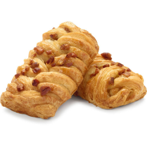 Baked in store.A flaky Danish pastry in an appealing braided shape topped with delicious pecans sprinkled on top and glazed for a warm, golden appearance. The tasty and caramel-like filling is made with premium ingredients like pure maple syrup and free-r