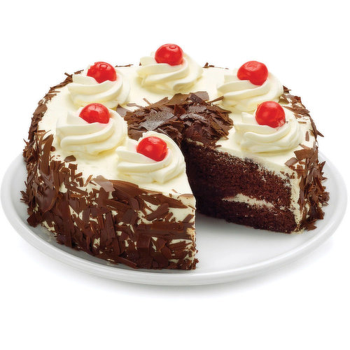 Two layers of rich dark chocolate cake filled with cherry filling, completely smothered in whipped cream icing and flavoured with a hint of kirsch liqueur. Garnished with semi-sweet chocolate shavings on sides and on top. Topped with luscious maraschino cherries.