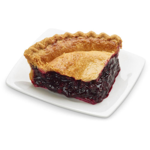 Baked in store. Whole, juicy blueberries with real sugar then bake in flaky, made-from-scratch crust. Just slice and serve or warm it up and add a scoop of vanilla ice cream.<br>