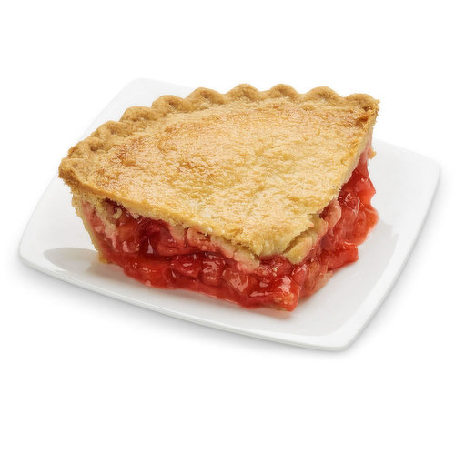 Baked in store. Made with ripe, juicy strawberries and tangy rhubarb, the perfect balance of sweet and tart.