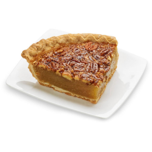 Baked in store. Delight your guests with this pecan pie, a delicious balance of buttery pecans, sweet filling and flaky, made-from-scratch crust. Add a dollop of your favorite whipped topping for an added treat.<br>