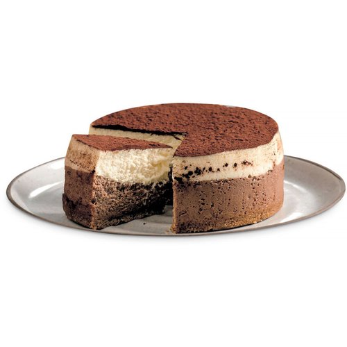 A real chocolate hit. Chocolate Cheesecake, White Chocolate Cheesecake, Topped with a dusting of cocoa powder. 5in cake.<br />