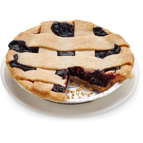 A buttery cake flour pie crust and lattice top filled with a fresh blueberry filling. 6in pie