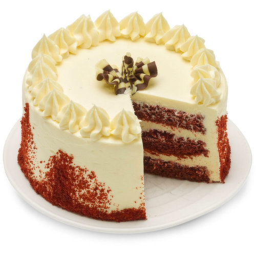 A velvet cream cheese filling smothered on top of our decadent moist red velvet sponge cake layered with cream filled buttercream. 6in cake.