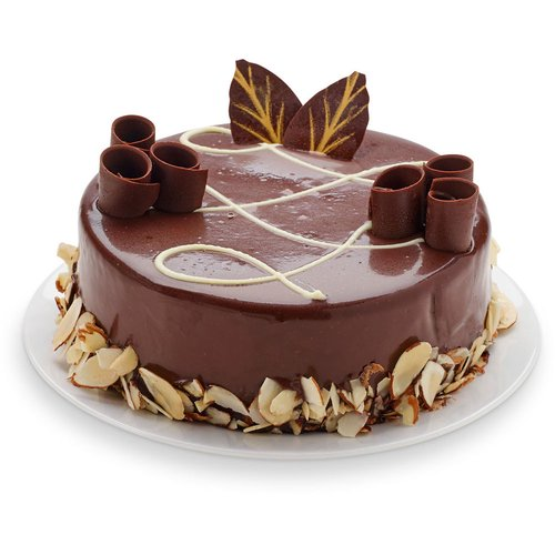 Moist chocolate sponge cake with a rich chocolate truffle filling. Coated with chocolate ganache and roasted almonds topped with our decadent chocolate swirls. 6in cake