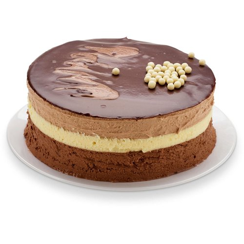 Two layers of dark chocolate sponge, dark Belgian mousse, white chocolate mousse, and milk chocolate mousse stacked together and topped with chocolate ganache and chocolate pearls. 6in