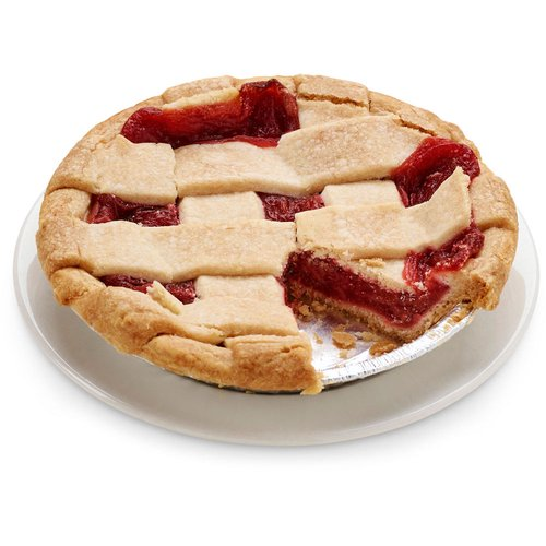 A buttery cake flour pie crust and lattice top filled with delicious fresh strawberries and rhubarb filling.6in pie.