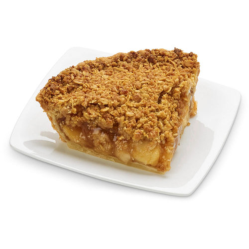 Baked in store. Apple and cinnamon pie slice with Dutch crumble topping. Approx 298g per slice.