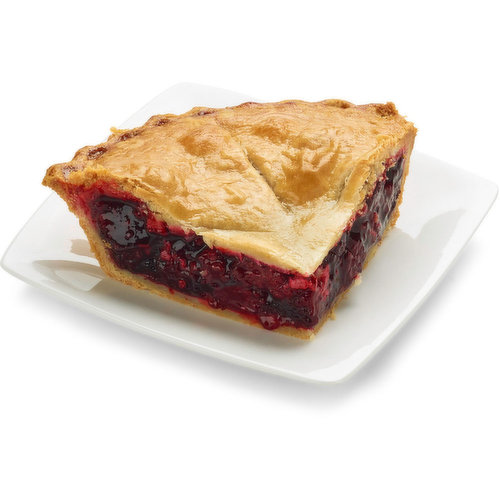 Baked in store. Marionberry and blackberries compliment each other perfectly in this pie. Approx 298g per slice
