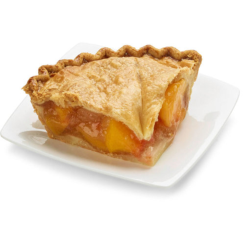 Baked in store. Delicately sweet peach flavor with a buttery tasting crust. Approx 298g per slice
