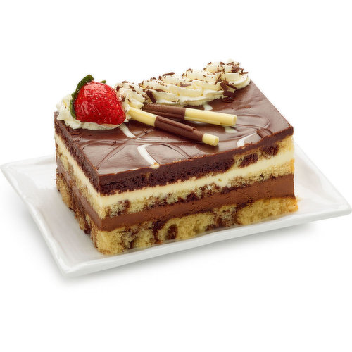 An Extravagant Creation Combining a Layer Each of Creamy Dark Chocolate and White Chocolate Mousse Floating Between 3 Layers of Marbled White and Dark Chocolate Cake. 650g Cake.