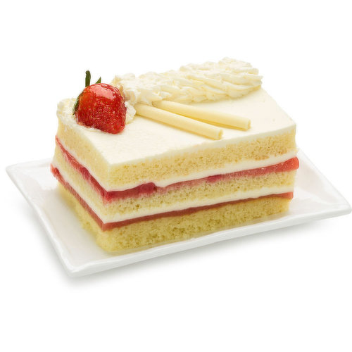 Three Scrumptious Layers of Delicious Shortcake are Decorated with Thick, Dairy Fresh Whipping Cream and Strawberry Preserve. 670g Cake.