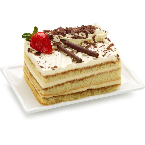 Classic Italian Dessert Created with an Original Multi-Layered Canvas, Infused with Strong, Dark Roast Espresso Coffee. Multiple Layers of creamy Mascarpone Mousse Blended with Rich Coffee Liqueur. 590g cake.