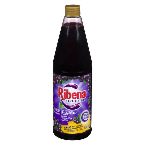 Refreshing fruit concentrate with Vitamin C.Dilute one part Ribena concentrate to about 4 parts water to make a delicious blackcurrant drink.
