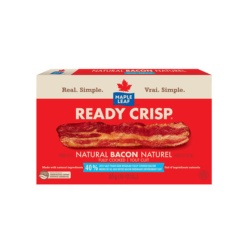 100% Real Bacon. Fully Cooked. 50% Less Sodium that  our Regular Fully Cooked Bacon.