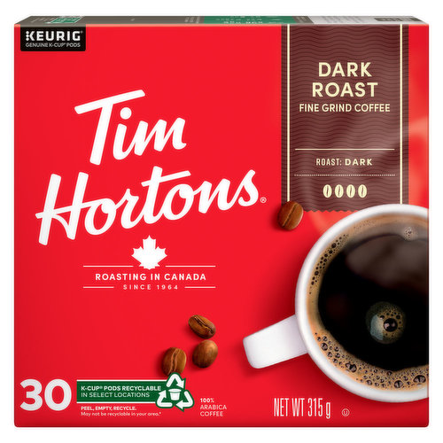 100% Arabica beans, this premium blend is roasted with care to deliver a rich & full flavored dark roast coffee, with a smooth finish. Recyclable. 30 K-cup pods.