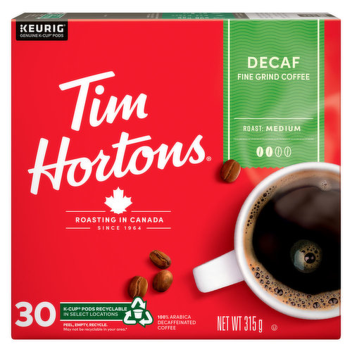 100% Arabica beans, decaffeinated by the Swiss Water process to preserve their signature flavor. Light medium roast. Recyclable. 30 K-cup pods.