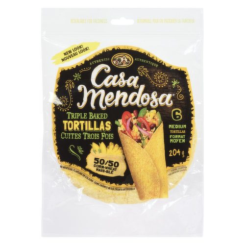 6 Medium Soft Tortillas. 204g