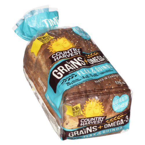 Made with flax & quinoa. Great addition to a heart health diet. 20g whole grains, 4g fibre & 5g protein. Baked in Canada. Time to make it grain!