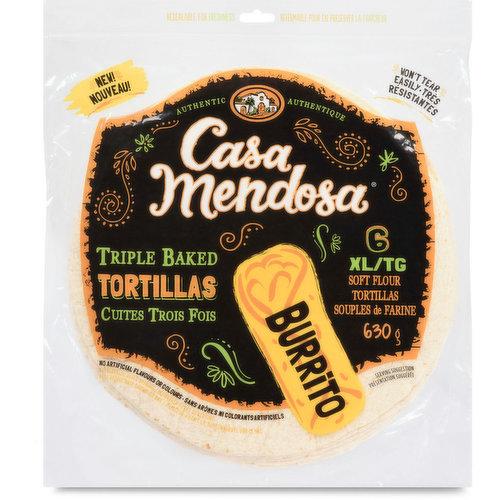 Triple baked tortillas, won't tear easily. No artificial flavors or colors. Resealable bag. 6 XL soft flour tortillas. 630g