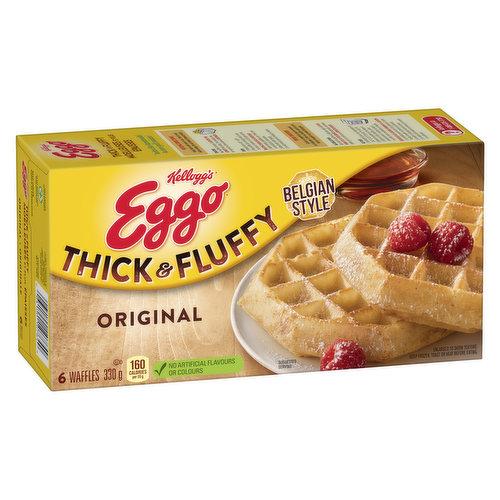 6 Thick & Fluffy Frozen Belgian Waffles.