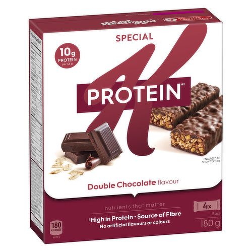 Natural and Artificial Flavour. Satisfies Hunger. 10g Protein and 5g Fibre per Bar.