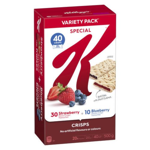 These crisps are a win-win for your taste buds. 30 Strawberry flavor. 10 Blueberry flavor. No artificial flavors or colors. 40 crisps.