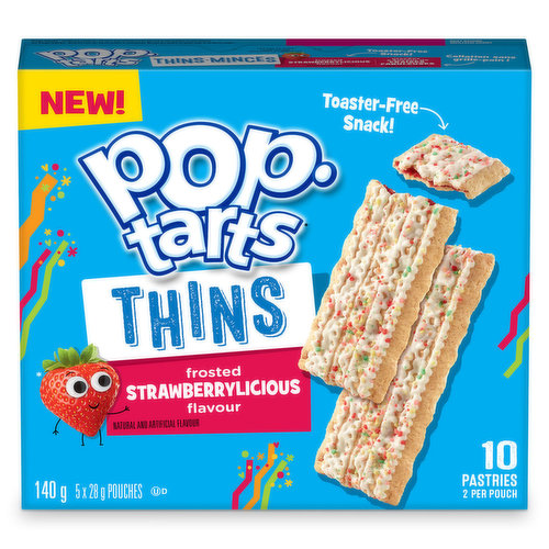 Toaster-free snack! Filled with yummy Strawberry filling, then topped with the sweet delicious icing you love.10 pastries. 2 per pouch.