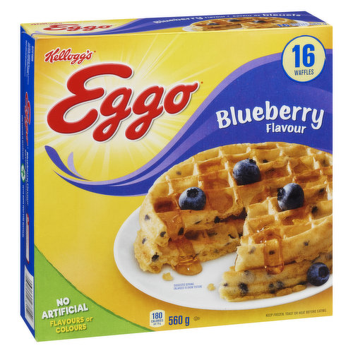 16 Frozen Waffles. Natural & Artificial Flavour. Blueberry Waffles have a Light, Crispy Texture and the Perfect Amount of Blueberry Flavour to Give Every Day a Berry Good Start.