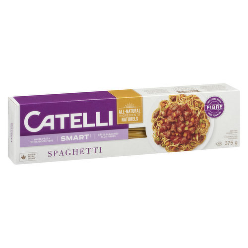 Delicious White Pasta with the Benefit of Fibre.  A Very High Source of Fibre. 32% Daily Value per 85g Serving.