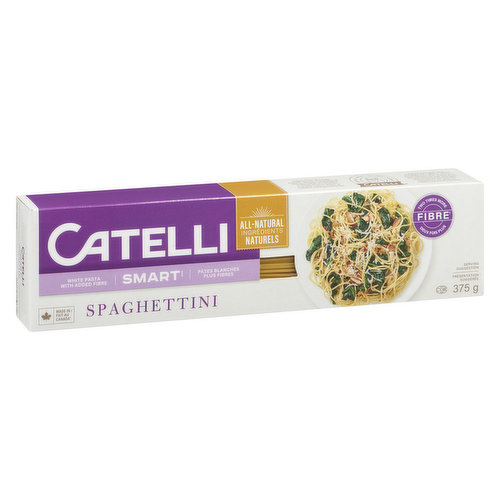 Delicious White Pasta with the Benefit of Fibre.  A Very High Source of Fibre. 32% Daily Value per 85g Serving