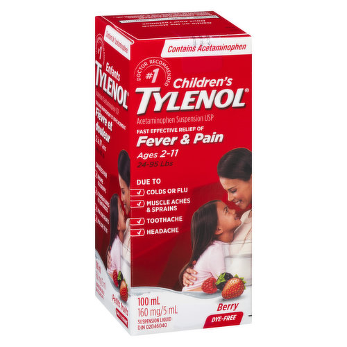 Acetaminophen Suspension USP. 5ml/160mg. Soothing Berry FlavourFast effective relief of Fever & Pain. Dye Free.For Ages 2-11 years