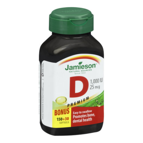 1000iu premium softgels are easy to swallow. Helps promote bone and dental health.