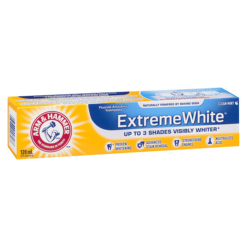 Extreme Whitening Toothpaste. Up to 3 Shades Whiter in 4 Weeks. With Baking Soda and Peroxide. Fresh Mint Flavour.