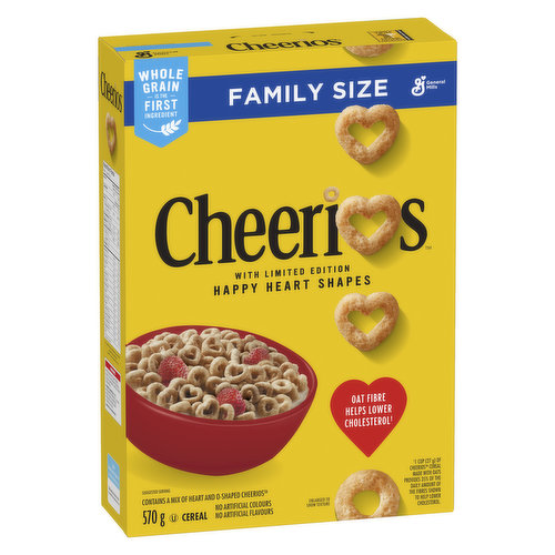 Made from whole grain oats, and without artificial flavors or colors, Cheerios are naturally low in fat and cholesterol free. Wholesome goodness for the whole family!