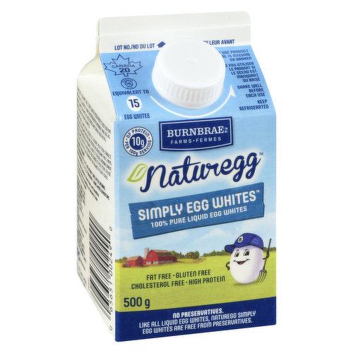 100% Pure Liquid Egg Whites. Egg Whites are Fat Free & Cholesterol Free.