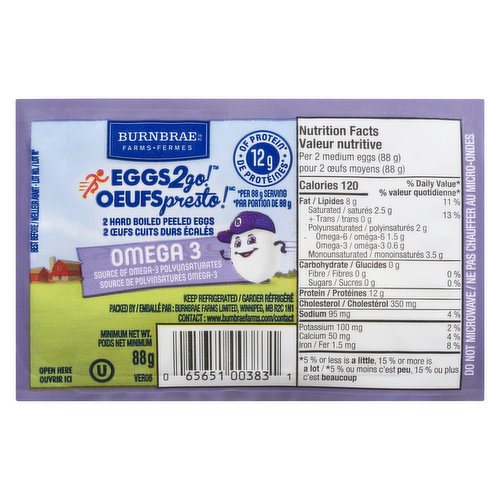 Perfect, ready-to-serve hard boiled eggs. Excellent source of protein. 75 mg of DHA omega-3 per single egg serving. Excellent source of protein. Excellent source of vitamin E and Vitamin B12