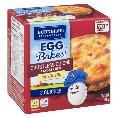 Frozen, Made with real eggs. Each quiche contains 13g of protein and only 160 calories. Microwave-ready in 90 seconds. Contains 2 quiches.