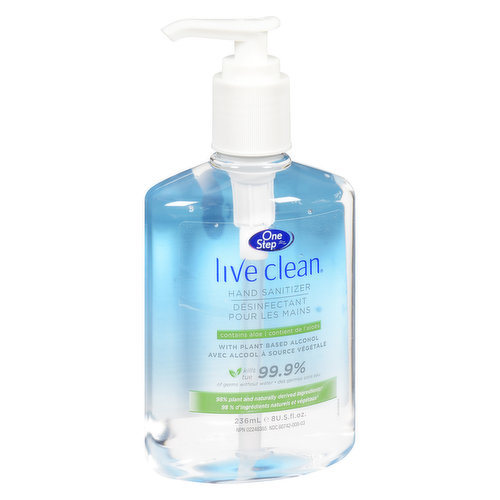 With Aloe. Kills 99.9% of Germs without Water.