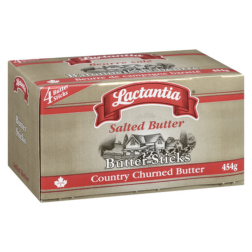 4 Butter Sticks. Traditionally Made by Churning 100% Pure Pasteurized Cream.