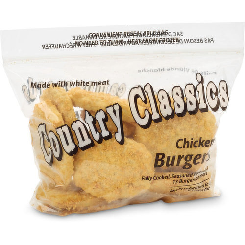 Frozen. Fully cooked, seasoned and breaded. Convenient resealable bag. Made with white meat. Low in saturated fat and 0 trans fat. 13 burgers or more.