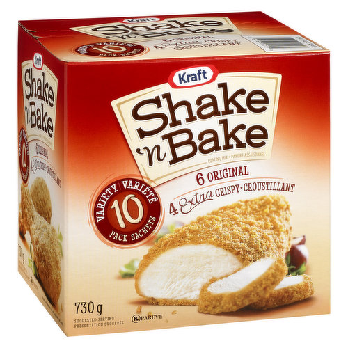 Includes 6 Original Recipe and 4 Extra Crispy Shake 'n Bake Packets.