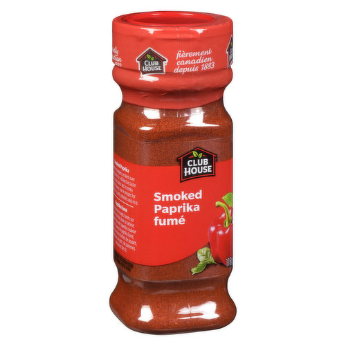 Club House smoked paprika are sweet peppers that is smoked and dried to produce a distinctive sweet and smoky taste. A great spice to add lots of flavour to your meat and vegetables.