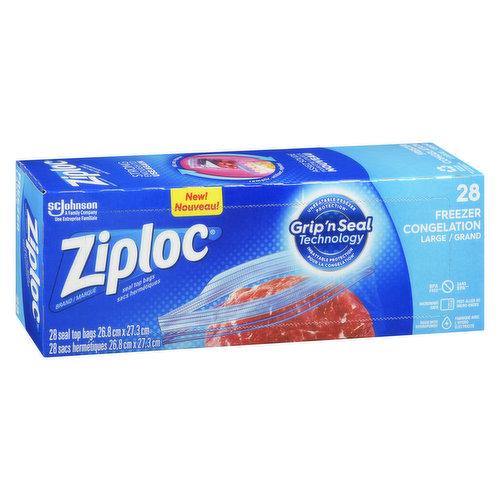 Value Pack. Double Zipper. Smart Zip Feel it, Hear it, See it. 28 Bags 26.8cm x 27.3cm.