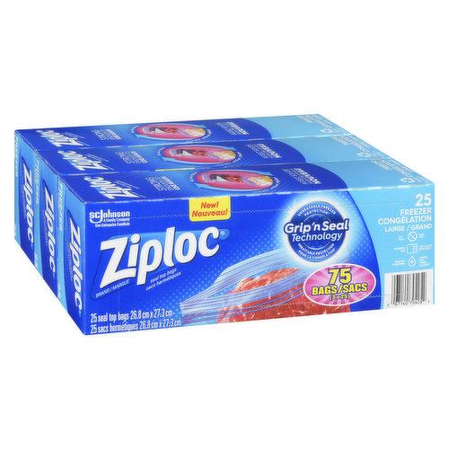 Easy open tabs. Double zipper. 3x25 Pack. 75 bags. 26.8cm x 27.3 cm.