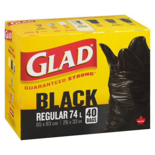 Guaranteed strong, Ideal to handle all of your toughest garbage needs. Easy tie bags, simple to lift & carry. 40 garbage bags. 65 x 83cm/26 x 33in.