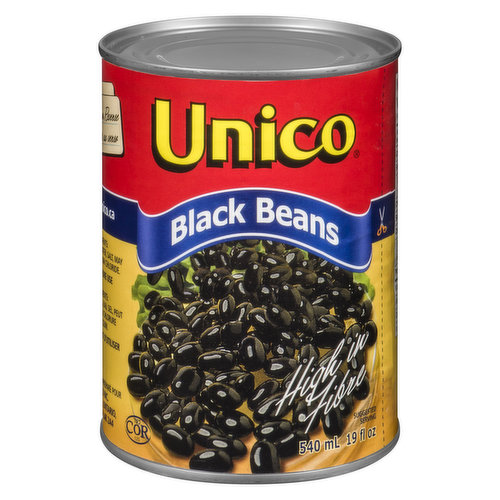 Canned Black Beans. High in Fibre.
