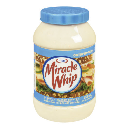 No Artificial Flavours or Colours.  0 g Trans Fat, is Low in Saturated Fat and has 83% Less Fat than Mayonnaise. 25% Less Calories than Regular Miracle Whip.