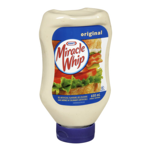Miracle Whip Spread in EZ Squeeze Bottle. No Artificial Flavours or Colours.